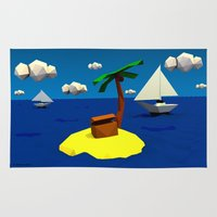 low poly Area & Throw Rugs featuring Low-Poly Treasure Island by Jorge Antunes