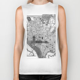 Vintage Map of Washington D.C. (1893) BW Biker Tank