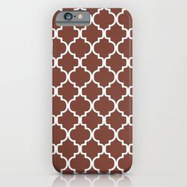 Moroccan Trellis (White & Brown Pattern) iPhone Case