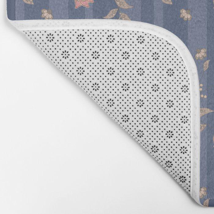 Retro . Floral pattern on a blue striped background . Bath Mat