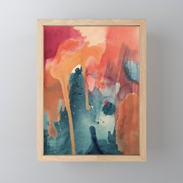 Pour Some Sugar on Me: a colorful mixed media abstract in pinks blues orange and purple Framed Mini Art Print