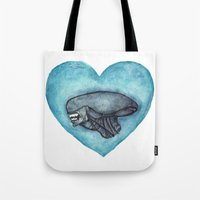 xenomorph Tote Bags featuring Xenomorph Love by Marina Rose