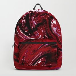psychedelic spiral line pattern painting abstract background in red Backpack