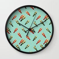 otters Wall Clocks featuring Otters' attractions by Lillian Ip-Koon
