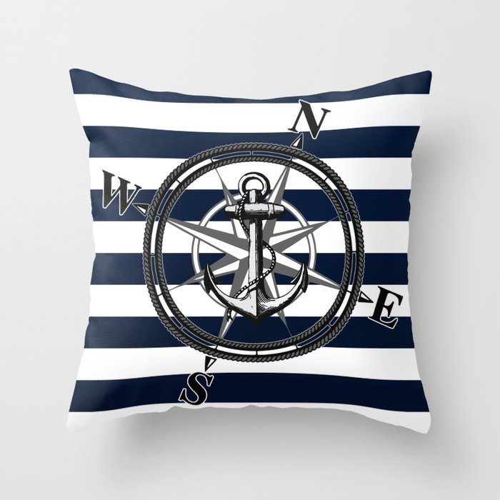 Navy Striped Nautica Throw Pillow By Nicklasgustafsson