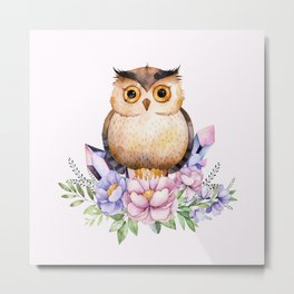 Bohomian Animal Illustration- Be Wise Little Owl Metal Print