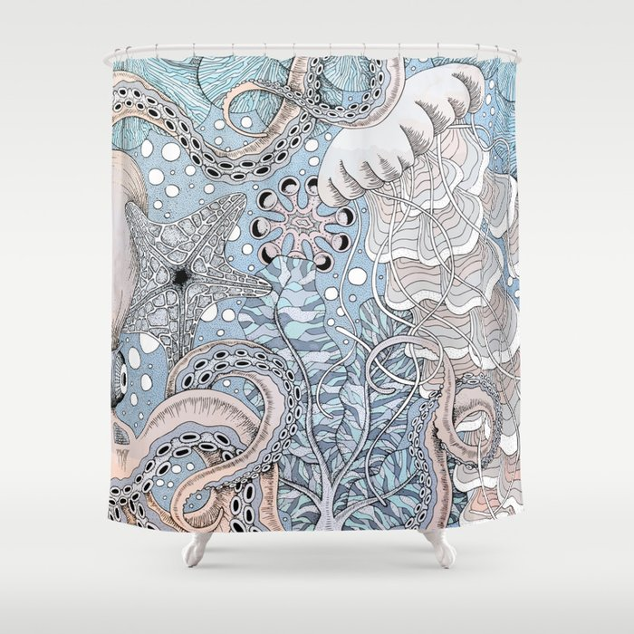 Coral Reef Shower Curtain By Agakubish