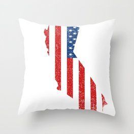 State Flag Of California Vintage CA Map Gift Throw Pillow