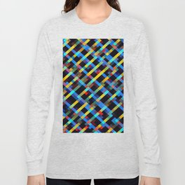 geometric pixel square pattern abstract background in blue yellow red orange Long Sleeve T-shirt