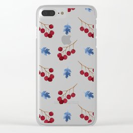 Red berries and blue watercolor leaves pattern Clear iPhone Case