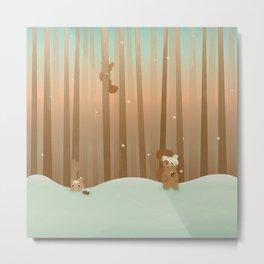 Snow Squirrels Metal Print