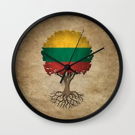 Vintage Tree of Life with Flag of Lithuania Wall Clock