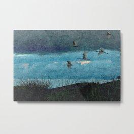 Flock Flamingos Flying Seaside Coast Metal Print