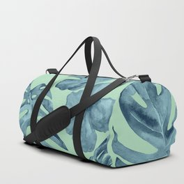 Tropical Leaves and Flowers Luxe Ocean Teal Blue Pastel Green Duffle Bag