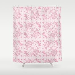 Elegant stylish dusty pink white floral lace Shower Curtain