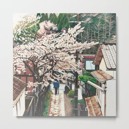 Passing by Cherry Blossoms Metal Print