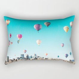 Minneapolis, Minnesota Skyline with Hot Air Balloons Over the City Skyline Rectangular Pillow