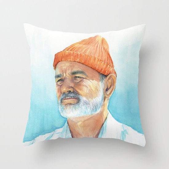 Steve Zissou Art Life Aquatic Bill Murray Watercolor Portrait Throw Pillow