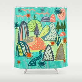 Happy Hills. Shower Curtain
