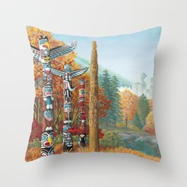 Vancouver Two Worlds Collide Landscape Painting Throw Pillow