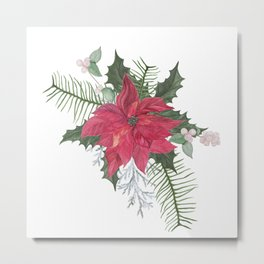 Red poinsettia flower arrangement Metal Print