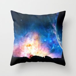 over the galaxy Throw Pillow