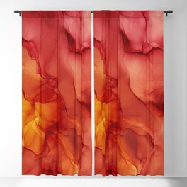 Red Sunset Abstract Ink Painting Red Orange Yellow Flame Blackout Curtain
