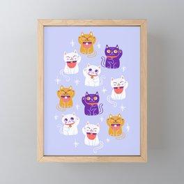 Lucky Waving Kitty Cat Maneki Neko Framed Mini Art Print