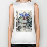 chihiro Biker Tanks featuring Spirited Away by Sandra Ink