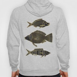 Fantastical Fish 2 - Black and Gold Hoody