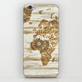 World map of wood iPhone Skin
