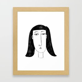 Stylised Charcoal Painting of a Woman Framed Art Print