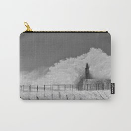 Stormy wave over old lighthouse Carry-All Pouch