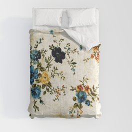 Cream Blue Yellow Floral Comforters