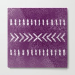 Minimalist Tribal Pattern on raspberry pink Metal Print