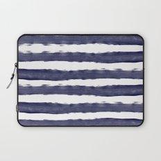 Maritime pattern- darkblue handpainted stripes on clear white Laptop Sleeve