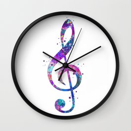 Treble Clef Sign Watercolor Print Blue Purple Wall Art Poster Music Poster Wall Clock