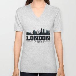 Awesome London Is Calling Skyline UK Unisex V-Neck
