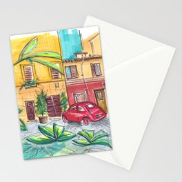 red vintage car in Rome Trastevere Italy Stationery Cards