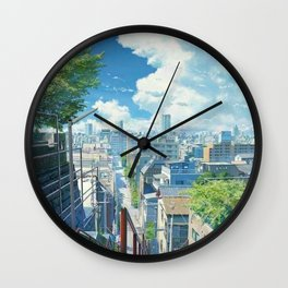Aesthetic Japanese Anime City View Wall Clock