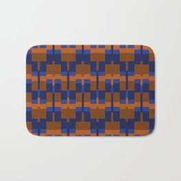 Squares and Lines in Blues and Tans Bath Mat