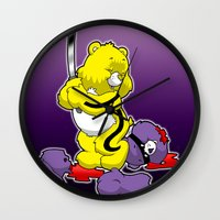 kill bill Wall Clocks featuring Kill Bill Bear by Andrew Mark Hunter
