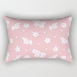 Pink Cherry Blossom Pattern Rectangular Pillow