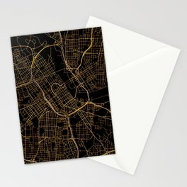 Black and gold Nashville map Stationery Cards