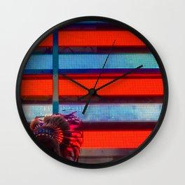 Native American & Flag of America, B Wall Clock