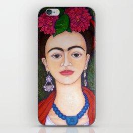 Frida portrait with dalias iPhone Skin