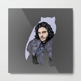 John Snow and the wolf Stark Aegon ( dark background ) Metal Print
