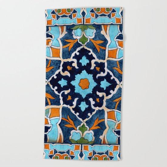 Mediterranean tile Beach Towel
