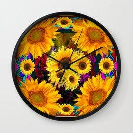 FUCHSIA PURPLE  & YELLOW  SUNFLOWERS ART Wall Clock