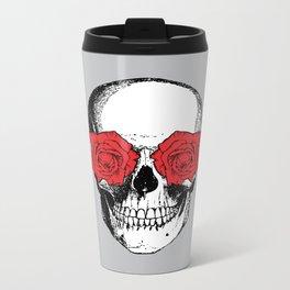 Skull and Roses | Grey and Red Metal Travel Mug